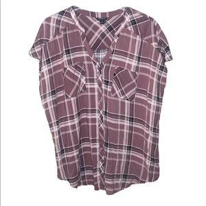 Torrid Blouse Walnut Plaid Challis Top Pink 1X